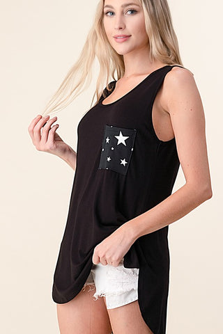 Blumin Pocket Detail Sleeveless Top - Star