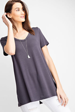 Rae Mode Solid V-Neck Top - Charcoal