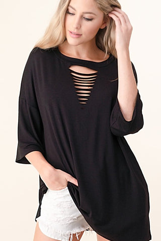 Blumin Laser Cut Tunic Top - Black
