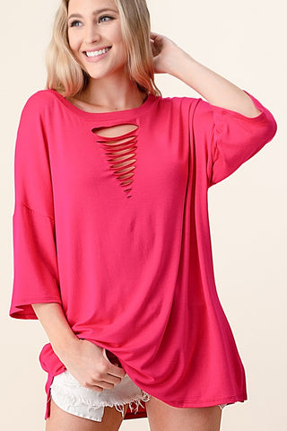 Blumin Laser Cut Tunic Top - Fuchsia