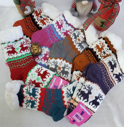Reindeer Fuzzy Slipper Socks - Assorted
