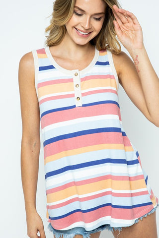 Twenty Second Sleeveless Striped Top - Rose Multi