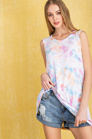 FSL Hand Dipped Sleeveless Tie Dye Top - Pink Multi