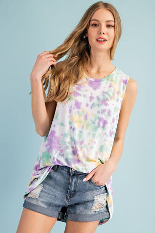 FSL Hand Dipped Sleeveless Tie Dye Top - Purple Multi