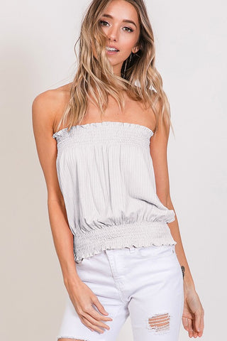 CY Smocked Tube Top - Off White