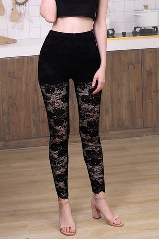 Hidden Lace Leggings with Shorts Liner - Black