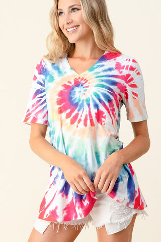 Blumin Hand Dyed V-Neck Top - Rainbow