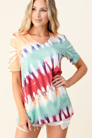 Blumin Hand Dyed V-Neck Top - Mint Multi