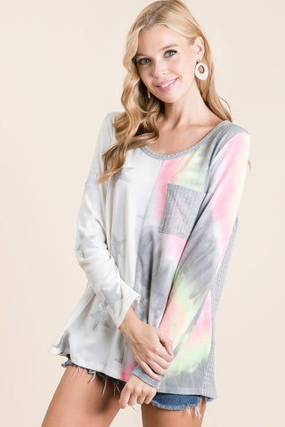 BiBi Print Block Long Sleeve Top - Silver Star