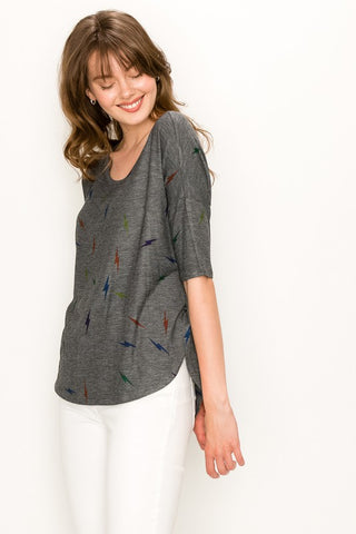 Enti Lightning Bolt 1/2 Sleeve Top - Charcoal
