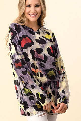 Blumin Multicolor Animal Print Hoodie Top - Purple