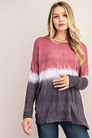 FSL Jersey Ombre Tunic Top - Red Bean
