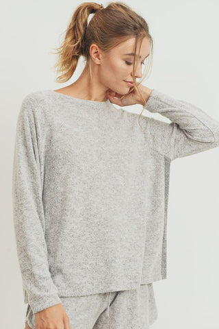 Cherish Brushed Knit Contrast Top - Grey