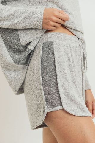 Cherish Brushed Knit Contrast Shorts - Grey