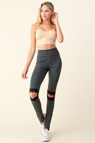 Blumin Lace Detail Leggings - Grey