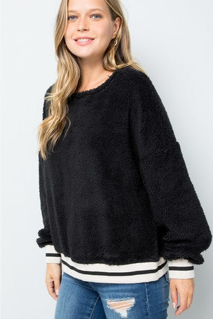 Zia Fuzzy Soft Sweatshirt Top - Black