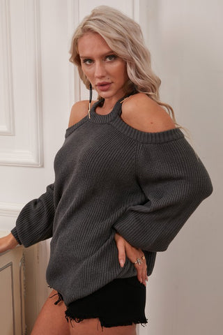 Ninexis Cut Out Detail Sweater Top - Charcoal