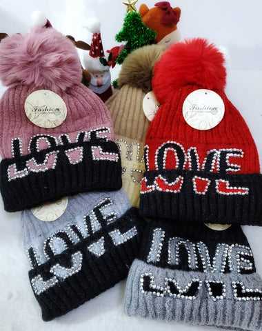 Love Fleece Lined Beanies - Assorted