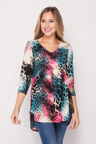 Honeyme Multicolor Leo Babydoll Top - Teal Multi