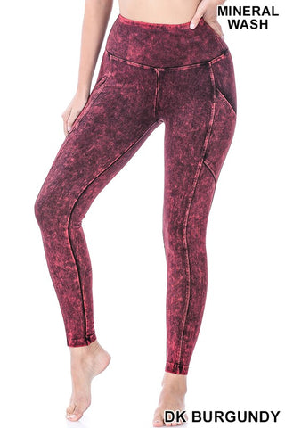 Mineral Wash Yoga Waistband Jeggings - Burgundy