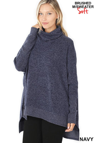 Soft Brushed Cowl Neck Poncho Sweater - Navy