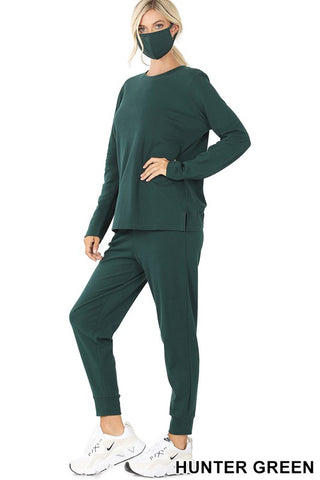 Cotton Top & Jogger With Smile Shield - Hunter Green