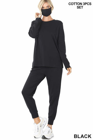 Cotton Top & Jogger With Smile Shield - Black