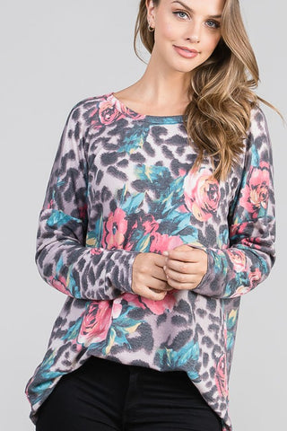 Heimish Floral Animal Top - Grey