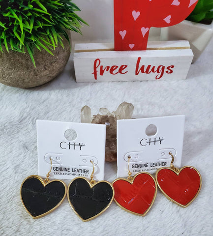 Genuine Leather Heart Dangle Earrings - Assorted