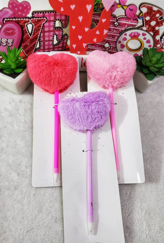 Plush Heart Pens - Assorted