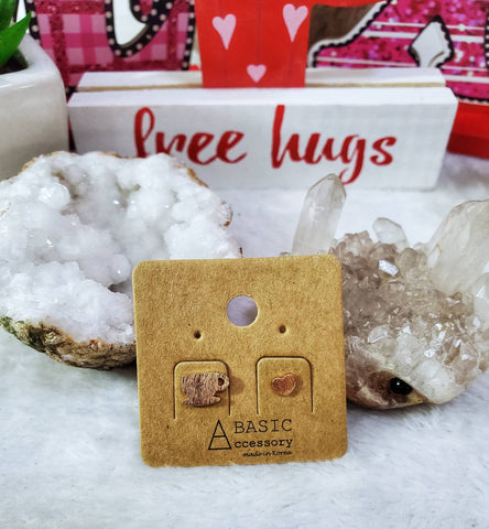 Coffee & Love Stud Earrings - Rose Gold