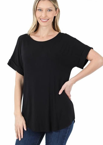 Luxe Rayon Short Sleeve Top - Black