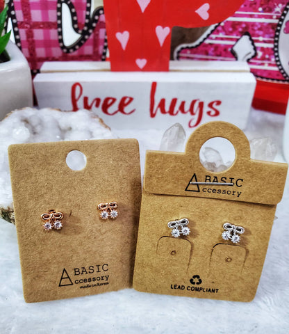 CZ Bow Stud Earrings - Assorted