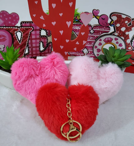 Valentine Plush Heart Keychains - Assorted
