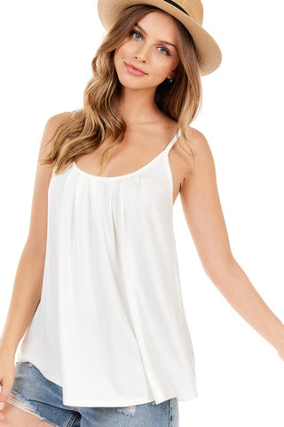 Sleeveless Spaghetti Strap Cami Tank Top - Off White
