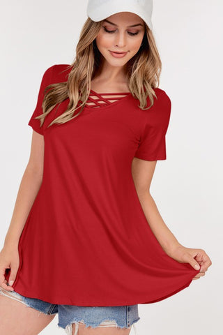 Short Sleeve Front Lattice Tunic Top - Ruby