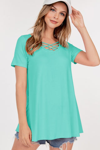 Short Sleeve Front Lattice Tunic Top - Emerald