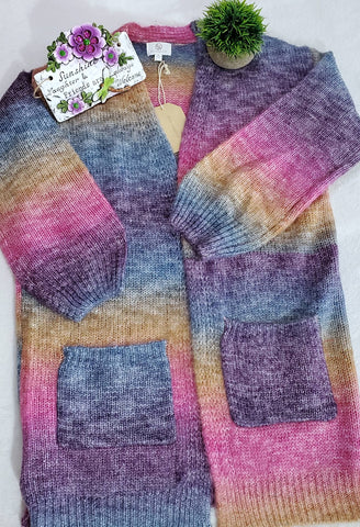 FSL Ombre Sweater Cardigan - Fuchsia Multi