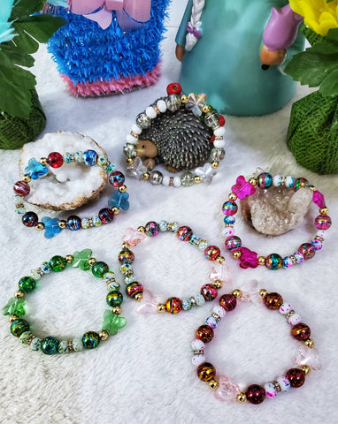 Glass Beaded Butterfly Stretch Bracelets - Assorted