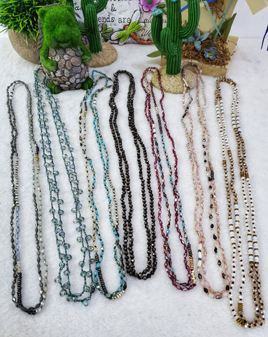 Crystal Beaded Long Necklaces - Assorted