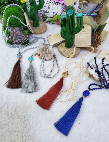 Stone & Tassel Beaded Necklace - Assorted