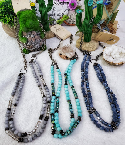 Double Layer Stone & Glass Beaded Necklace - Assorted