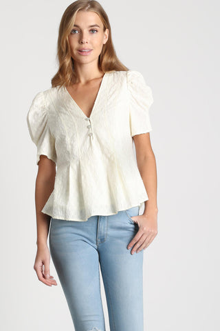 LLove Pleated Detail Eyelet Top - Natural