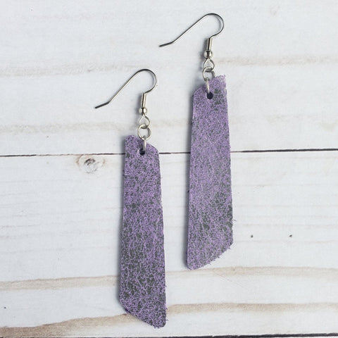 Purple Chickadee Leather Bar Earrings - Assorted