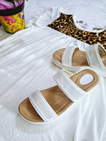 Double Strap Comfort Slide Sandals - White