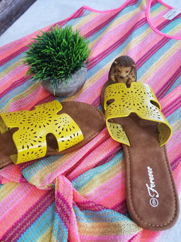 Laser Cut Out Slide Sandals - Yellow