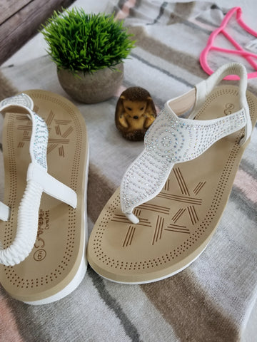 Sequined Flat Comfort Sandal - White