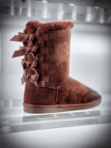 Furry Bow Back Winter Boots - Brown