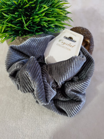 Corduroy Scrunchie Set - Grey