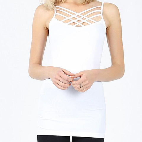 Triple Criss-Cross Cami - White